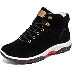 GIY Men Fashion Round Toe Fur Lining Snow Boots Platform High-top Winter Warm Casual Shoes