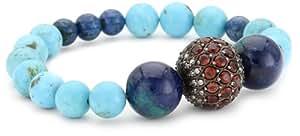 Jordan Alexander Turquoise with Garnet and Diamond Bead Bracelet