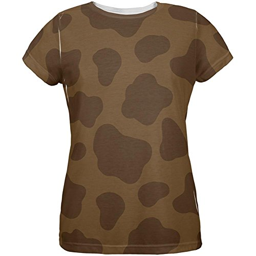 Halloween Brown Chocolate Milk Cow Costume All Over Womens T Shirt Multi X-LG ()