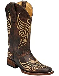 Corral Circle G Womens L5058 Butterfly Embroidery Brown Square Toe Western Boots