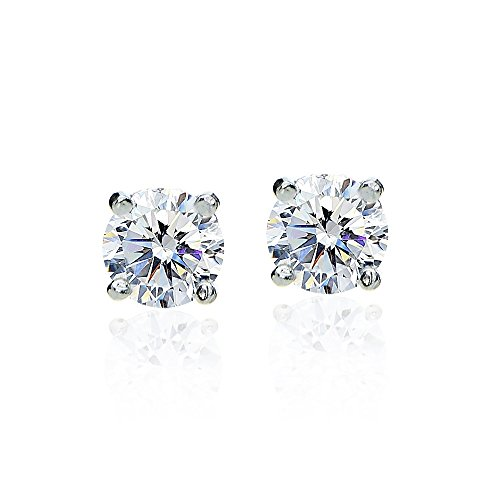 Sterling Silver 2ct Round Solitaire Stud Earrings made with Swarovski Zirconia