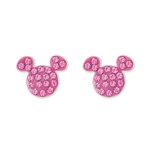 Disney Mickey Mouse Sterling Silver Crystal October Birthstone Stud Earrings Mickey's 90th Birthday ()
