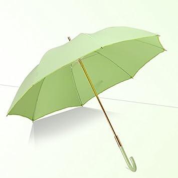 HAN-NMC Paraguas automático Mango Largo Hombre de Negocios,Paraguas Verde (LadyS Dinero