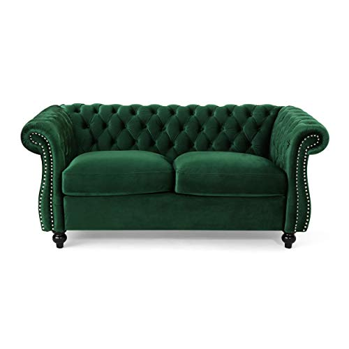 (Christopher Knight Home 306028 Karen Traditional Chesterfield Loveseat Sofa, Emerald and Dark Brown,)