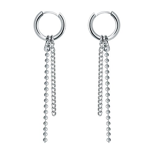 Korea Style Stainless Steel Hoop Earrings Circle Tassel Drop Dangle Earring Feather Cross Earrings for Women Men (1 pair#5)