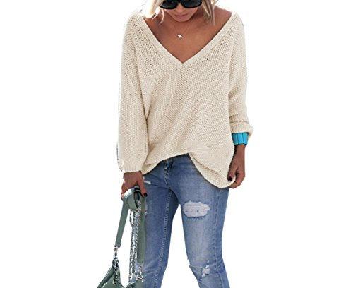 Womens Causal Deep V Neck Long Sleeves Ribbed Knitted Loose Sweater Blouse Tops Apricot L