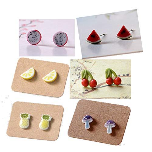(  VZBarn 9 Pairs Multi Color Round Beads Stud Earrings Set for 90s Girls )
