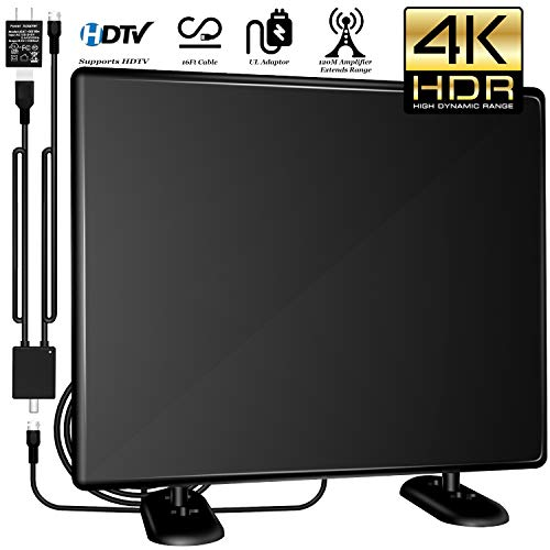 [2019 Upgrade] 120+Miles Amplified TV Antenna Indoor/Outdoor -Ultra Digital HDTV Antenna with Amplifier TV Free Signals High Reception Antenna for TV 4K/1080P/VHF/UHF Channels High Gain 16ft