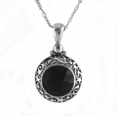 Sterling-Silver-Black-Crystal-Filigree-Round-Pendant-Necklace-18
