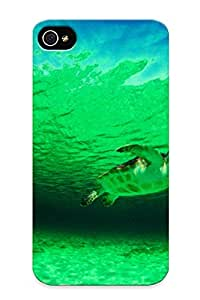 For Iphone 4/4s Protective Case, High Quality For Iphone 4/4s A Wild Green Sea Turtle Skin Case Cover
