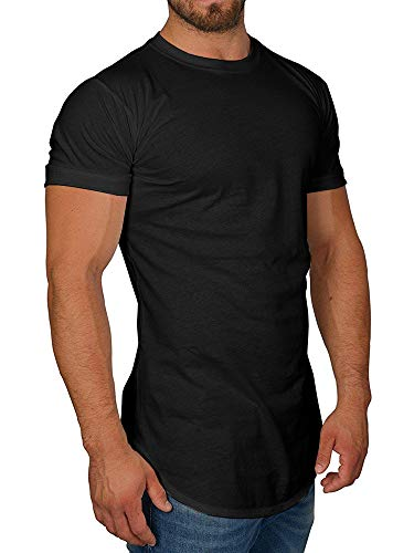 Makkrom Mens Hipster Hip Hop Longline T-Shirts Short Sleeve Crew Neck Casual Plain Basic Soft Tee Shirts Black