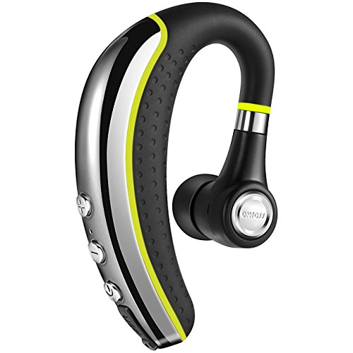 【NEW】Bluetooth Headset V4.1,Candeo Wireless Business Earpiece Trucker In-Ear Earbuds Headphones with Noise Reduction Mute Switch,Hands Free w/Mic for Office/Business/Workout/Driver/Trucker-Yellow by Candeo