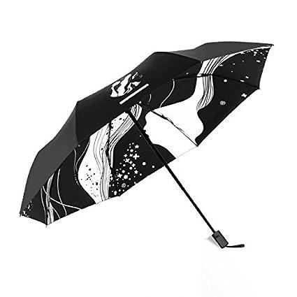 Paraguas plegable automatico Mujer niño Hombre an- Sombrilla Plegable, plástico Negro Anti-UV