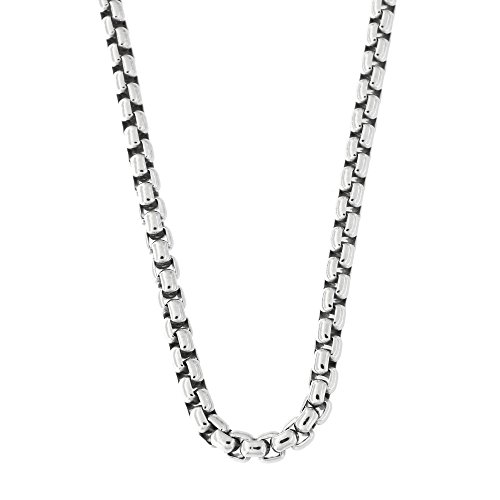 - Mens Solid Sterling Silver Rhodium Plated 3.75mm Round Box Chain Necklace, 24