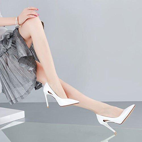 Professionnel en Chaussures Travail Aiguilles Femmes Cuir Talons White Robes pour Basses de Chaussures DKFJKI BUcqPWa