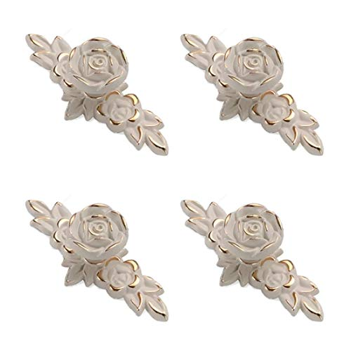 Joyindecor Euro Rose Flower Cabinet Knobs with Backplate, Vintage Kitchen Zinc Alloy Flower Drawer Pull Handles for Dresser Vanity Nightstand Cupboard Waredobe with 2 Size Screws, 4 Pack (Golden Edge)