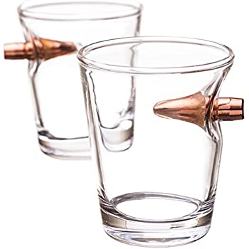 Amazon Com Barbuzzo 50 Caliber Shot Glass Set Of 2 Shot