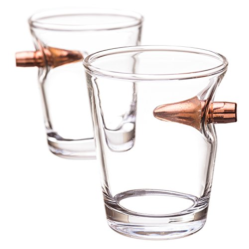 .308 Real Bullet hand-blown Shot Glass Set of 2