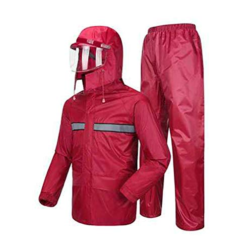 Fuchsia XX-grand JTWJ Pantalon imperméable Masque de Pluie Costume Double imperméable Adulte et Adulte imperméable, imperméable portable (Couleur   Marine, Taille   XXXL)