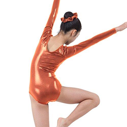 Annie Long Sleeve Elisha Metallic Lycra Spandex Gymnastics Leotard Girl 12 Orange