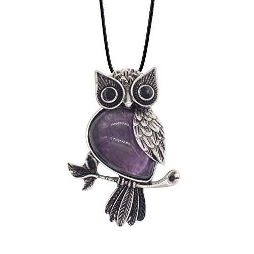 Necklace Vintage Owl (Zhepin Owl Necklace Amethyst Natural Healing Stone Necklace about 19 inches Spiritual Energy for Women and Men Pendant Necklace in Gift Box)