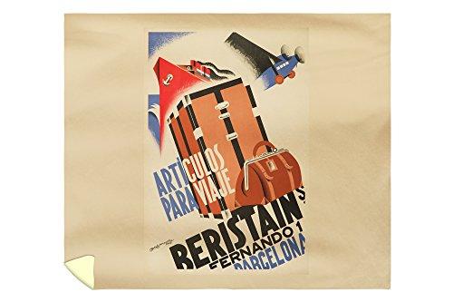 Beristain - Articulos para Viaje Vintage Poster (artist: Bofarull) Spain c. 1932 (88x104 King Microfiber Duvet Cover) by Lantern Press