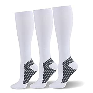 (L-XL, White,3 Pairs) - HLTPRO Compression Socks for Men & Women 20-25 mmHg - 3 to 6 Pairs Graduated Compression Stockings Best for Running, Nurses, Shin Splints, Flight Travel & Maternity Pregnancy