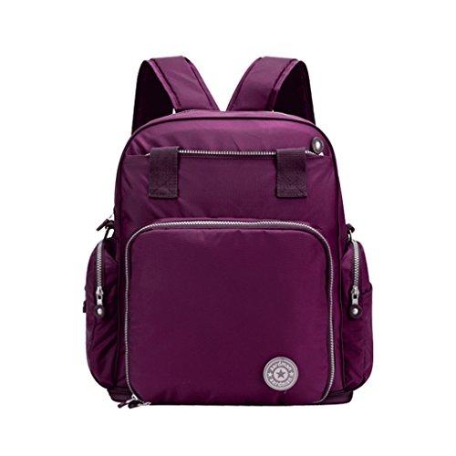 Mommy Bag Multifunción de alta capacidad mamá bolsa hombros Madre paquete madre-bebé bolsa fuera de la mochila Messenger ( Color : Grape Violet ) Grape Violet