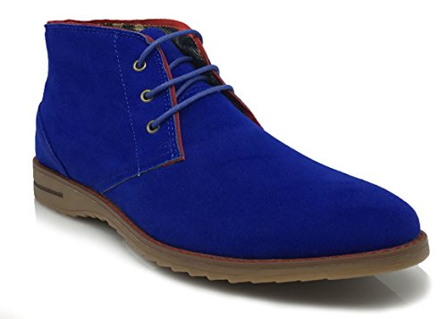 DrV1 Men Classic Urban Italy Chukka Desert Oxfords Lace Up Boots Original Suede Leather Midsole stripe Desert Wind boots (7.5, Royal Blue)