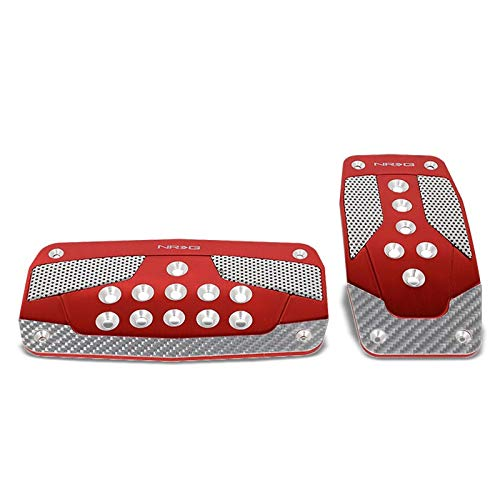 - UrMarketOutlet NRG PDL-450RD Brake/Gas/Clutch Automatic at Sport Race Foot Pedal Plates Cover Set (Red w/Silver Carbon Fiber Trim)