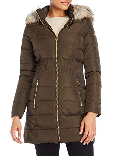 Quilted Coat Laundry (Laundry by Shelli Segal Women's Down 3/4 Windbreaker Down Puffer Cinched Waist Hooded Coat (XS))