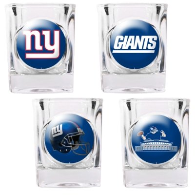 New York Giants Shot Glass (New York Giants - 4 Piece Square Shot Glass Set w/Individual Logos)