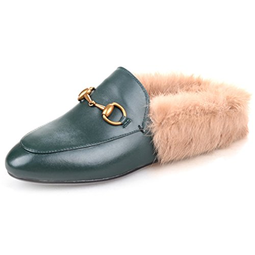 ENMAYER Women's Black Retro Fashion Loafers Round Toe Slip on Flat Outdoor Slippers with Furry and Buckle Green 6 B(M) US (Retro Buckle)