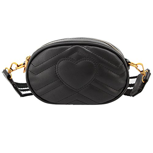 Liliam Women Girls Sweet Oval Shape Fanny Pack Waist Belt Bum Bag Shoulder Crossbody Bag Clutch Handbag(Black) Oval Sweet