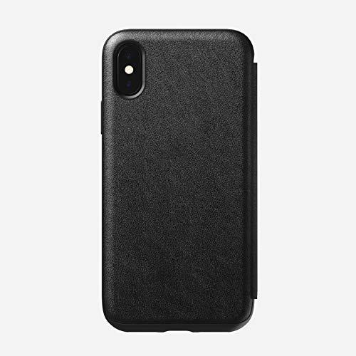 Black Leather Folio Case - Nomad Rugged Folio for iPhone X | Black Horween Leather