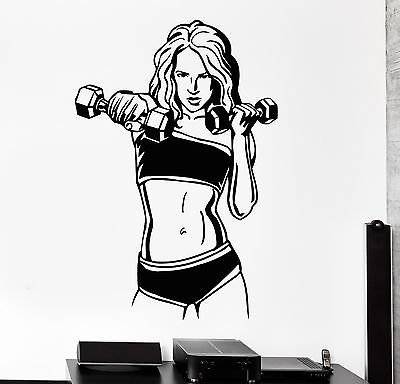 Wall Decal Fitness Woman Gym Sports Bodybuilding Health Vinyl Stickers (vs2608)