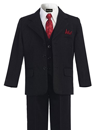 OLIVIA KOO Boys Pinstripe 6-Piece Suit With Matching Neck Tie and Pocket Square Black 10 by OLIVIA KOO