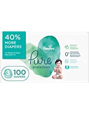 Diapers Size 3 - Pampers Pure Protection Disposable Baby Diapers, 100 Count, Super Economy Pack