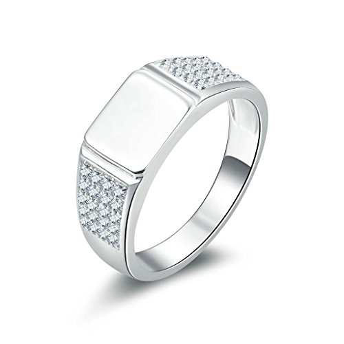 AmDxD Jewelry Silver Plated Men Promise Customizable Rings High Polished CZ Size 10