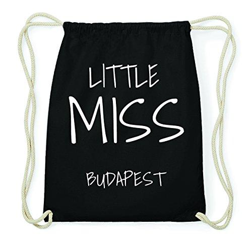 JOllify BUDAPEST Hipster Turnbeutel Tasche Rucksack aus Baumwolle - Farbe: schwarz Design: Little Miss fOLitrNurp