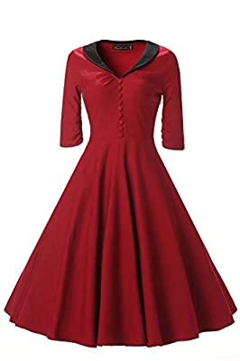 LanierWedding Women's Vintage 50s Floral Lace Cocktail Dress Square Neck 3/4 Sleeve Short Prom Dresses 2017
