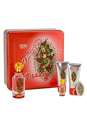 Ed Hardy Villain Women Gift Set (Eau de Parfum, Eau de Parfum, Lotion, Shower Gel, Tattoo Design)