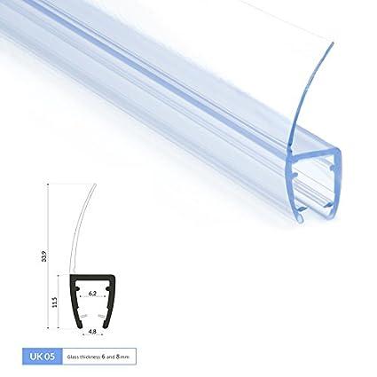 200cm UK05 - Ersatzdichtung für 6mm/8mm Glasdicke Wasserabweiser Duschdichtung Schwallschutz Duschkabine Duschprofil Duschtür