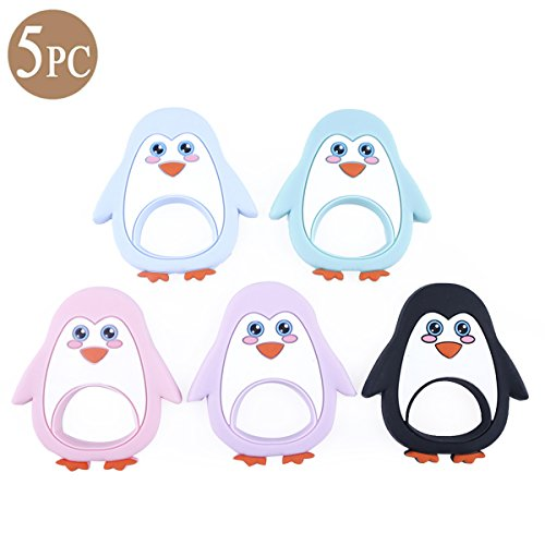 Baby Love Home Baby Teether Silicone Penguin Pendant 5pcs BPA Free Teething Toys DIY Teether Necklace Nursing Accessories Toddler Teething Toys