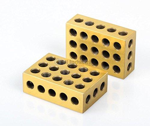 """BL-123T Pair of 1"""" x 2"""" x 3"""" Precision Steel 1-2-3 Blocks, TiN Coated"""