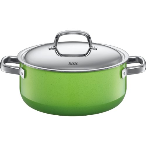 Silit  Fresh  4-1/2-Quart Low Casserole with Lid, Lemon Green