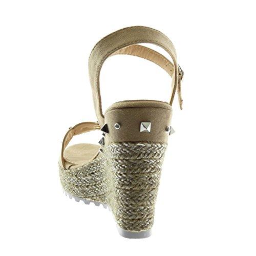 Angkorly Zapatillas Moda Sandalias Mules Correa de Tobillo Plataforma Suela de Zapatillas Mujer Tachonado Cuerda Trenzado Plataforma 12 cm Beige