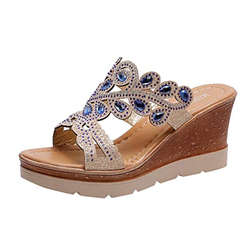 ◕‿◕Water◕‿◕ Women Slippers,Bohemia Crystal Shoes Wedges Thick Peep Toe Sandals Ladies Mid-Heel Slippers Fish Mouth Slippers Blue