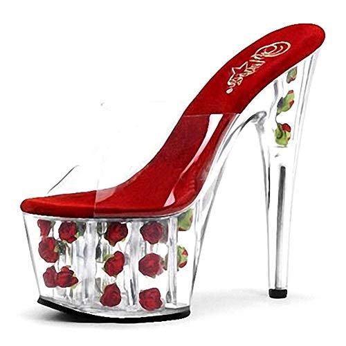 Incluso Translúcido Tacón Primavera Aguja Verano De Cristal Tacones Club Zapatos Fiesta Sandalias Talón Ghfjdo Mujeres Pvc Jalea Red Fucsia E PwRUwqOz