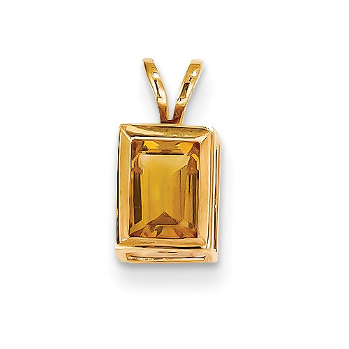 14k Yellow Gold 7x5mm Emerald Cut Citrine Bezel Pendant